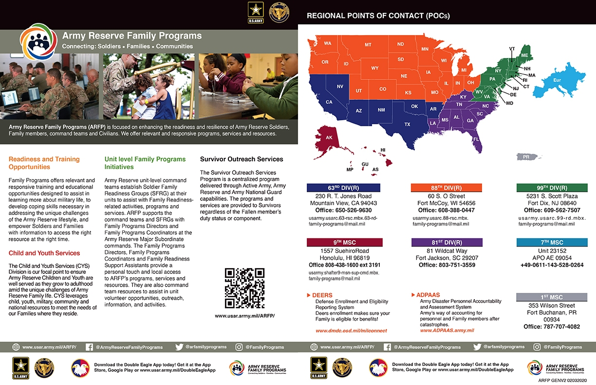 U.S. Army Reserve Family Programs General Information Flyer